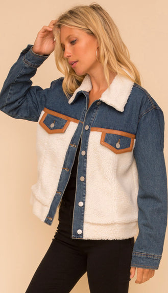Holy Vail Sherpa Leather Trimmed Denim Jacket- Ivory/Denim