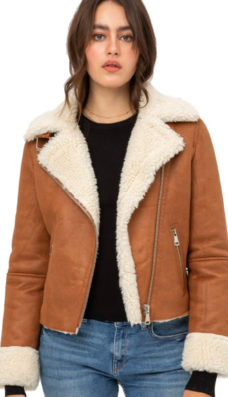 Feel This Way Fur Lined Jacket- Camel
