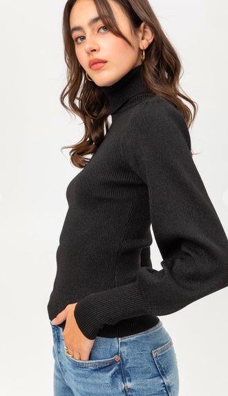 Subtle Shimmer Balloon Sleeve Turtleneck Sweater- Black