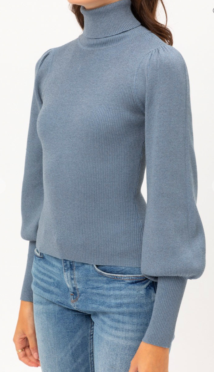 Subtle Shimmer Balloon Sleeve Turtleneck Sweater- Mauve
