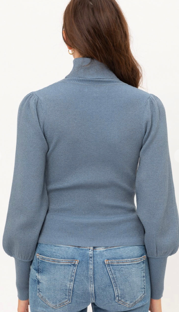 Subtle Shimmer Balloon Sleeve Turtleneck Sweater- Blue