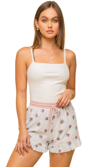 Elastic Washed Paperbag Shorts- Rose Peach