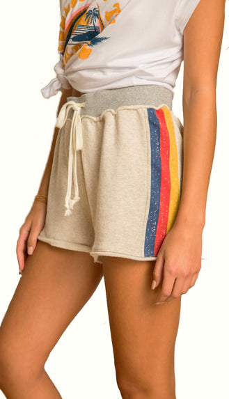 Lounge Around French Terry Shorts- Oatmeal/Multi