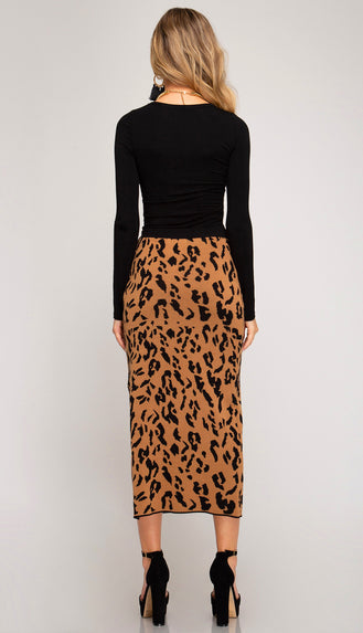 Spot On Animal Print Sweater Midi Skirt- Camel