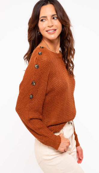 New Beginnings Button Sleeve Sweater