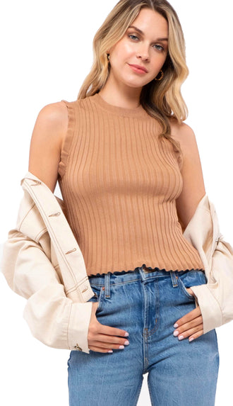 Ruffle Edge Knit Tank- Dark Tan