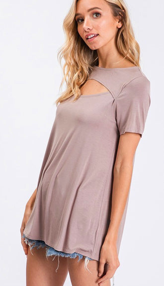Here For This Front Cut Tee- Taupe