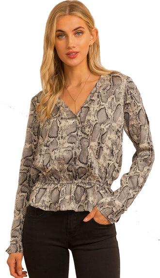 Serpent Peplum Blouse- Grey