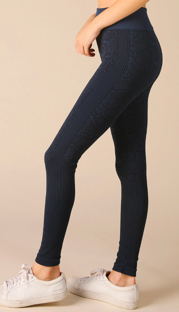 Niki Biki Snake Skin Leggings- Denim Blue