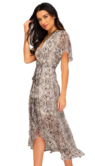 Change It Up Snake Print Midi Dress- Mocha/Gray