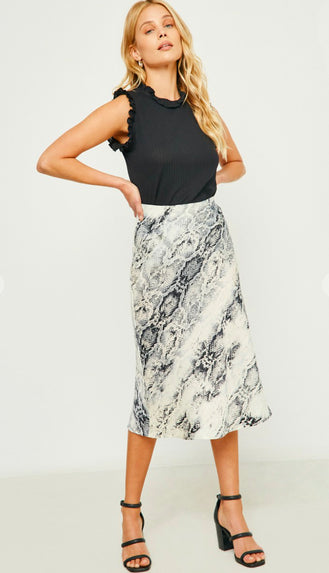 One Step Ahead Snake Print Midi Skirt- Cream/Black