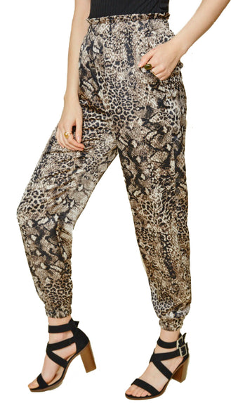 Snake Print Jogger Pants- Black/Tan/Grey