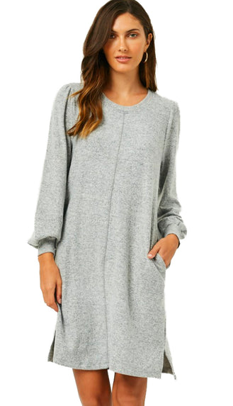 Perfect Blend Soft Brushed Sweater Dress- Grey