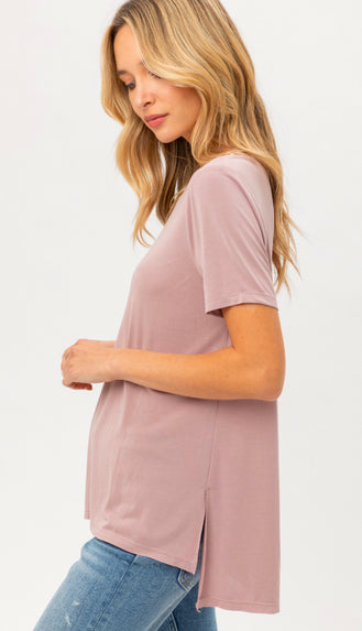 Soft Slouchy Modal Tee- Dusty Pink