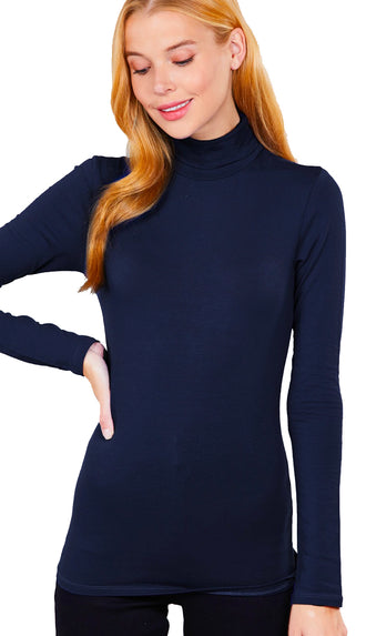 Basic Turtleneck Cotton Spandex Top