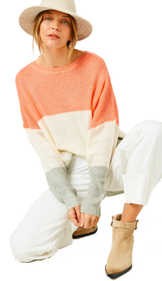 It's A Breeze Color Block Lightweight Sweater- Orange Mix