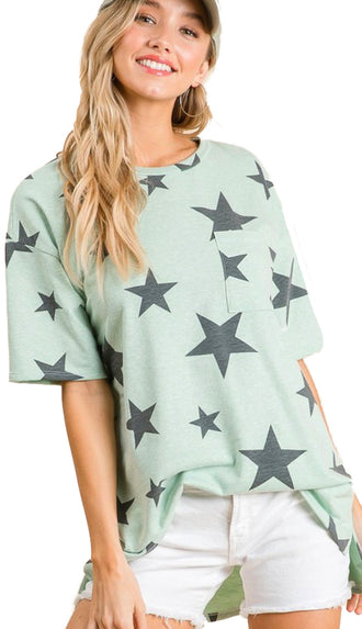 Loose Fit Star Print Top- Sage