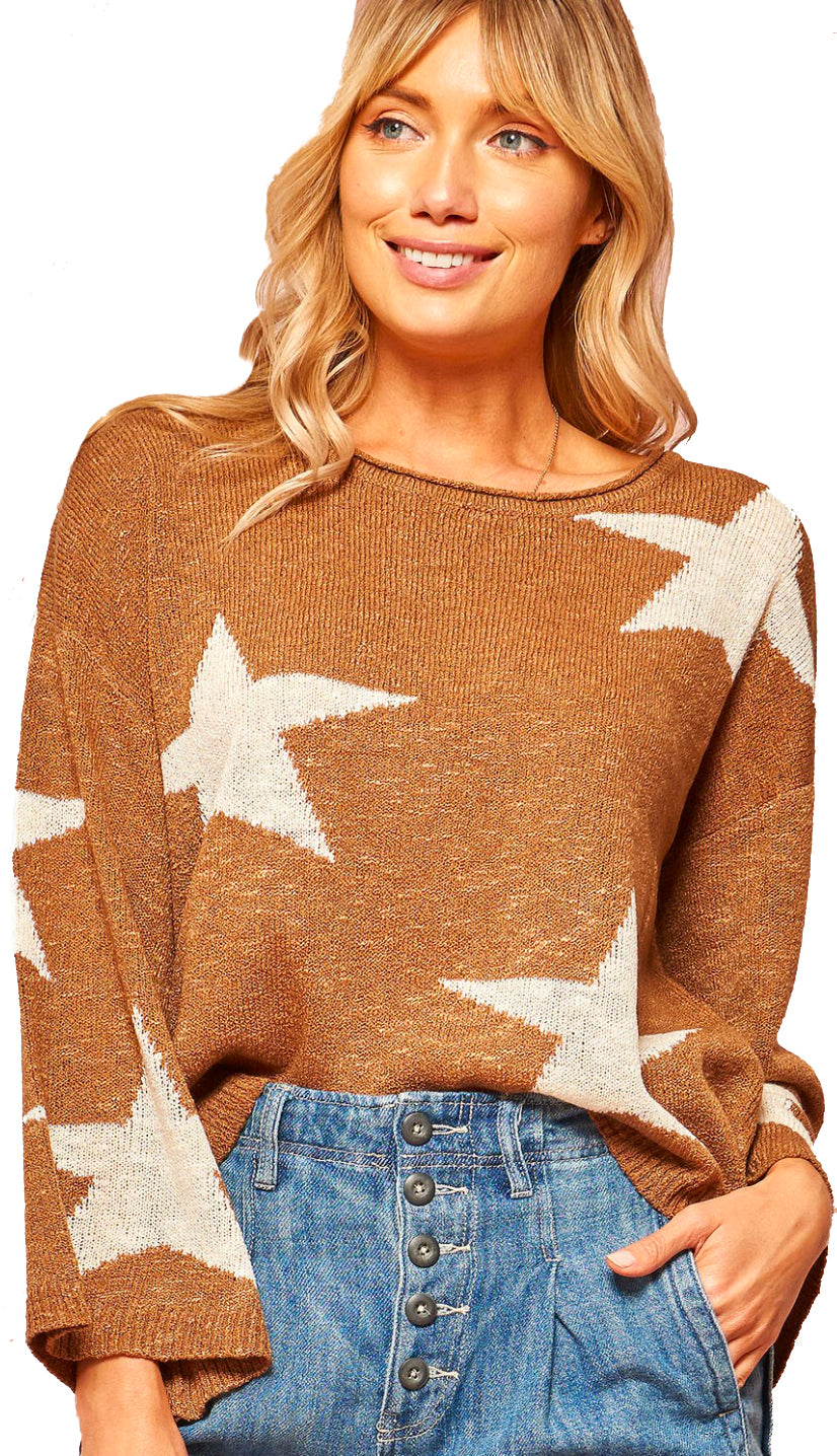 Star Gazing Loose Fit Sweater- Black