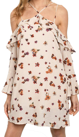 Finest Floral Strappy Dress- Blush
