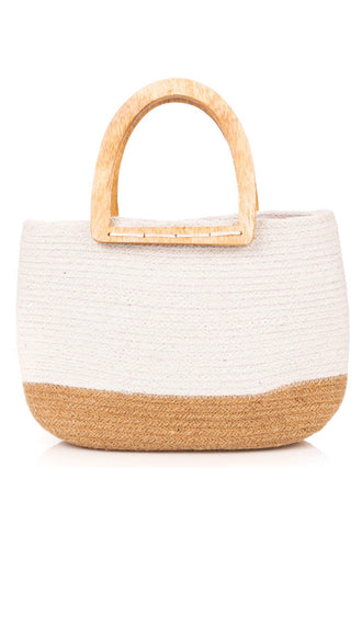 Straw Weave Tote Bag- Ivory
