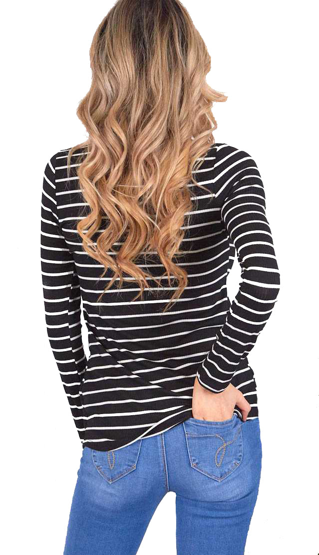 Essential Stripe Top- Black