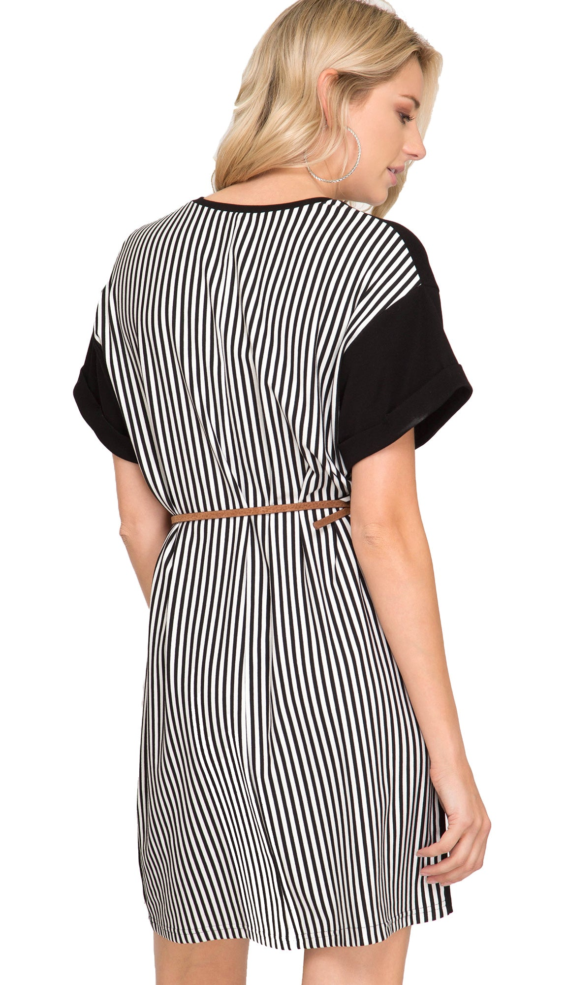 Stripe On My Back Dress- Black