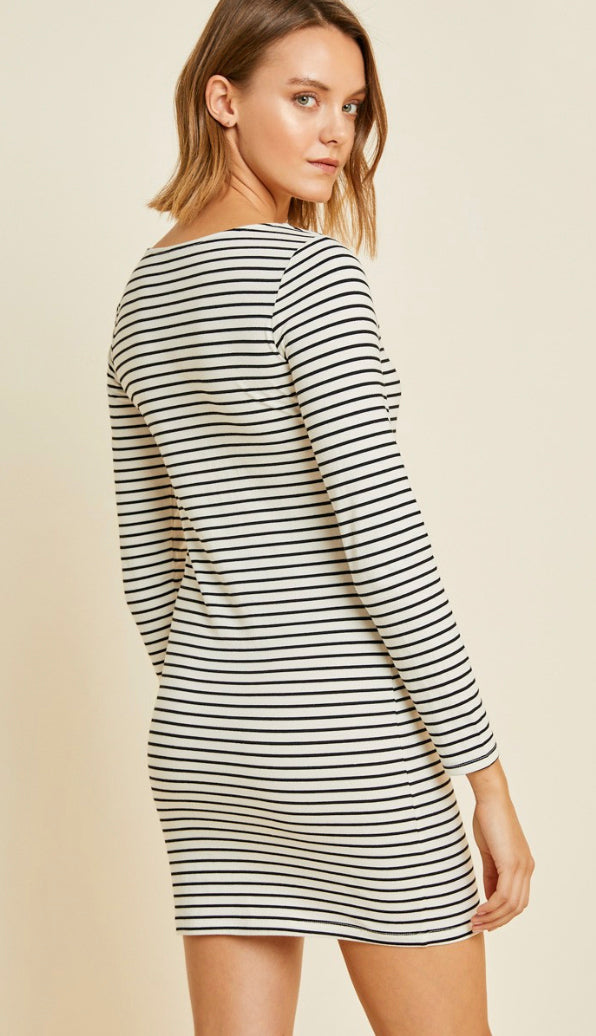 Everyday Stripe Fitted Dress- Ivory/Black