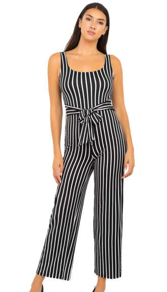 Bold The Beautiful Striped Wide Leg Jumpsuit- Black/White