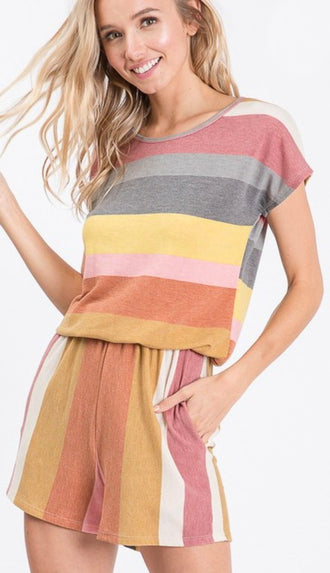 Fun Way Of Life Stripe Romper- Marsala/Mustard
