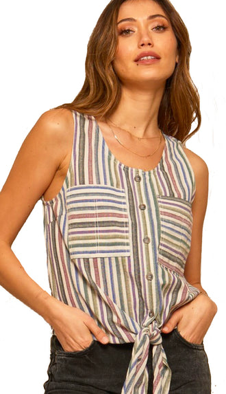 Shut Them Out Multi Color Stripe Tie Tank- Ivory