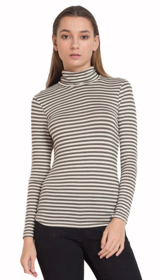 Stripe Basic Turtleneck Top- Olive/Cream