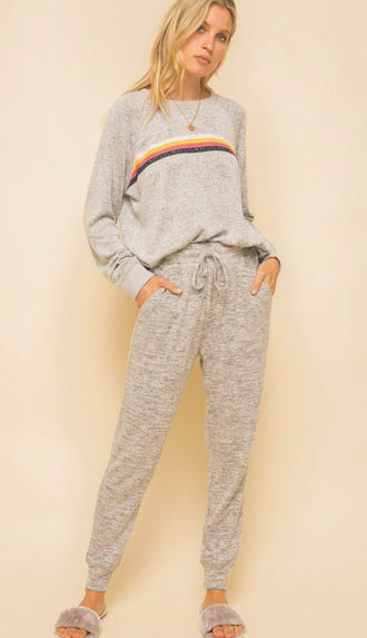 Multi Color Hacci Sweatshirt- Heather Grey