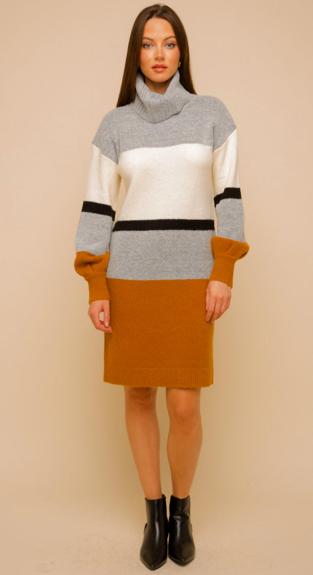 Fall To Winter Bubble Sleeve Sweater Dress- Ivory/Camel