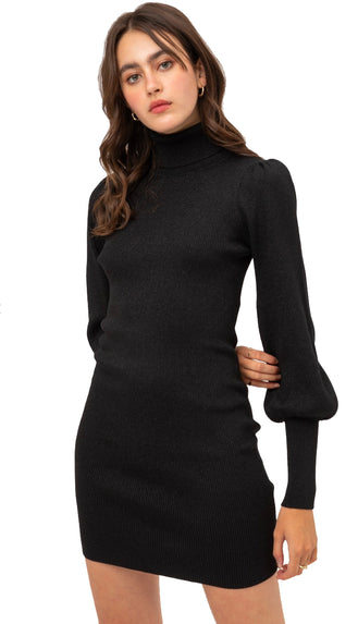 Solid Shimmer Turtleneck Dress- Black