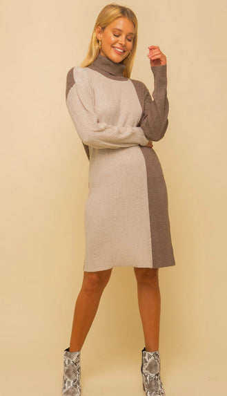 Chilly Occasion Color Block Ribbed Sweater Dress- Beige
