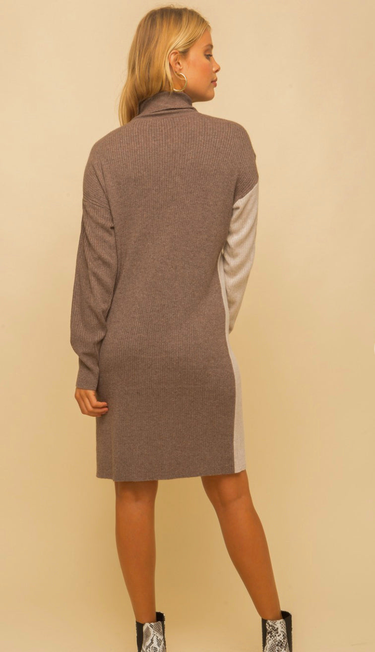 Chilly Occasion Color Block Ribbed Sweater Dress- Charcoal/Black