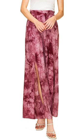 Tie Dye Slit Pants- Deco Rose