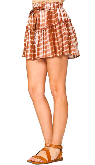 Here For It Tie Dye Elastic Waist Shorts- Hazelnut