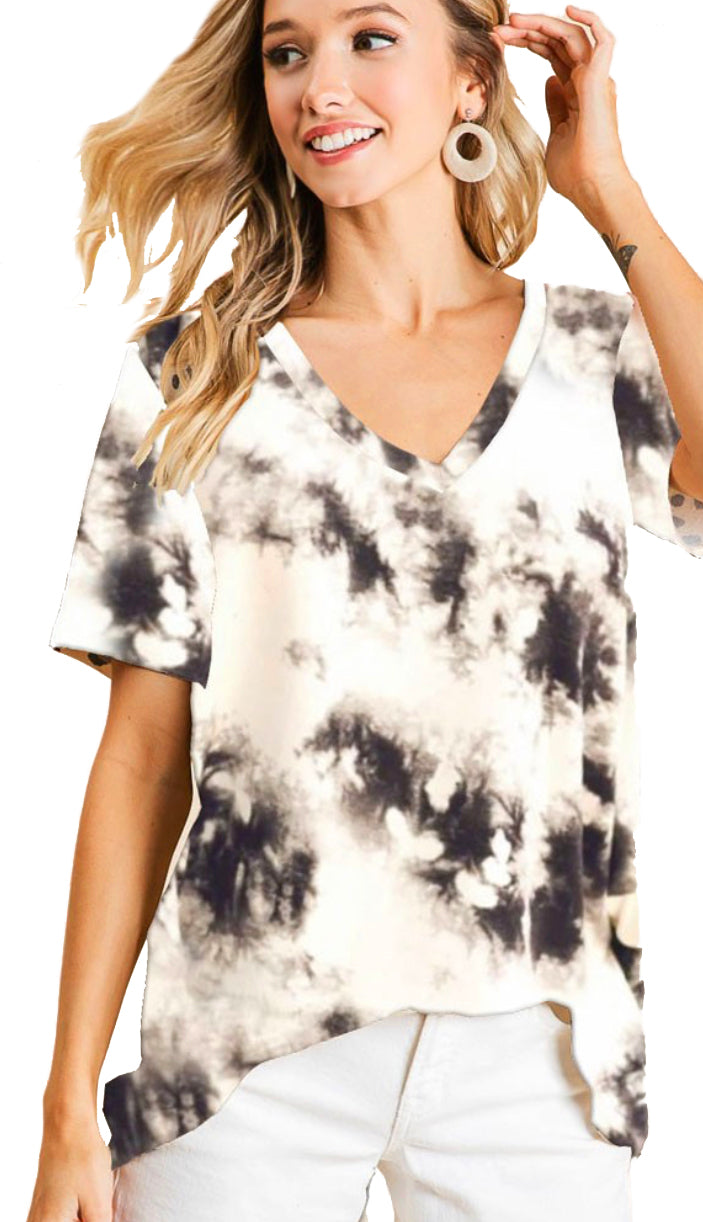 Lost For Good Tie Dye Top- Ivory