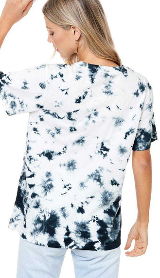 Rock N Roll Tie Dye Graphic Tee- Dark Sea/White