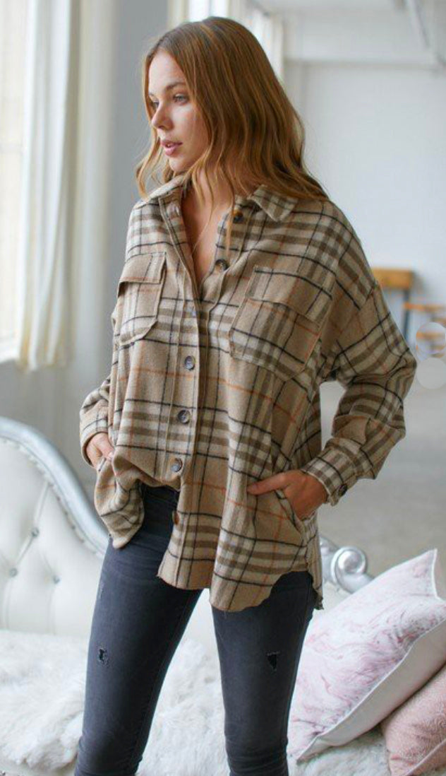 Timberline Oversized Plaid Shirt Jacket- Brown