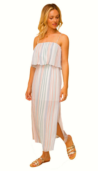 Happy Go Lucky Stripe Tube Dress - Sage/Multi