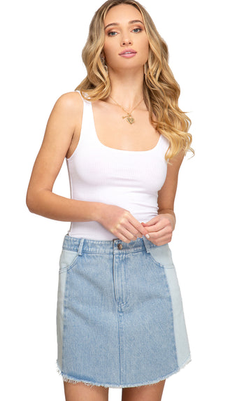 Two Tone Washed Mini Skirt- Denim Blue