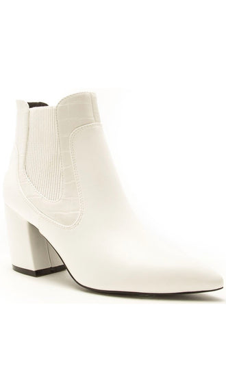 Croc Print Elastic Ankle Booties- White
