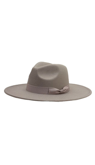 Bow Band Wide Brim Hat- Gray