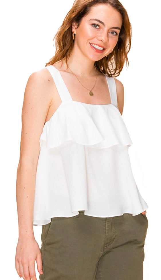 Wide Strap Ruffle Tank- Off White