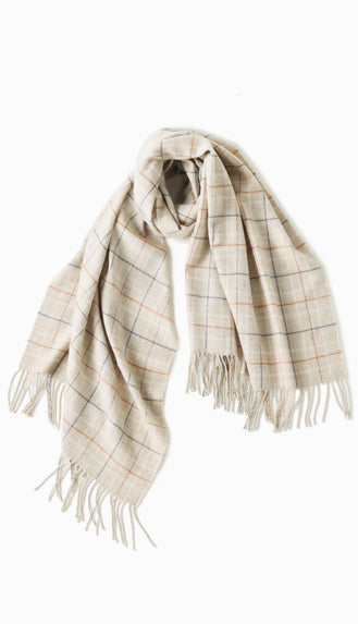 Window Pane Oblong Scarf- Ivory