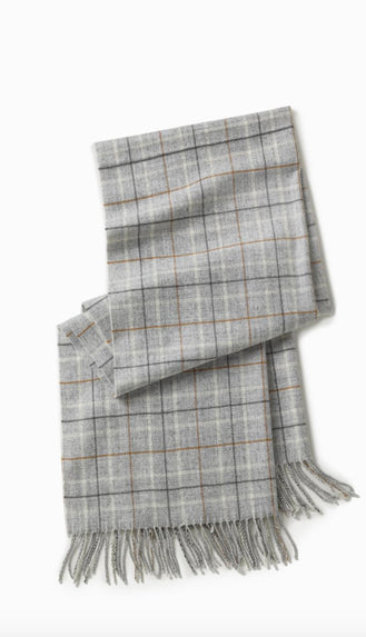 Window Pane Oblong Scarf- Grey