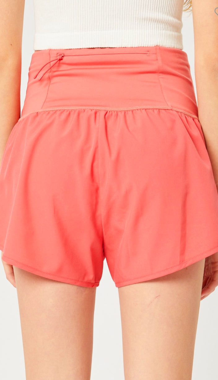 Dupe High Waisted Athletic Shorts- Pink