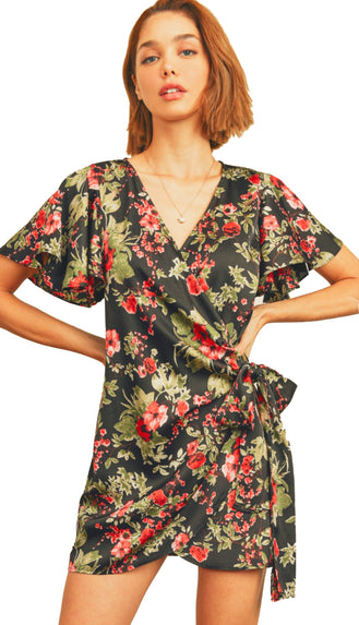 Rose Field Wrap Dress- Black/Red